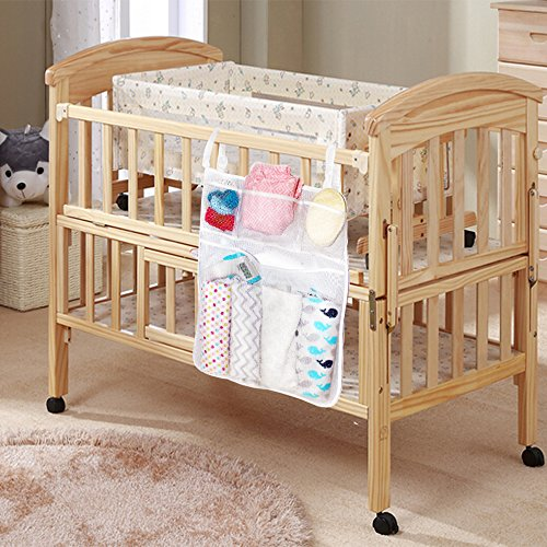 Nursery Organizer and Baby Diaper Caddy, Bed Hanging Storage Bag, Hanging Diaper Organization for Baby Essentials, Hang on Crib, Suitable for Baby Car, Wall, Table, Toy Diaper Pocket Crib Bedding Set (Wicker Baby Cribs)