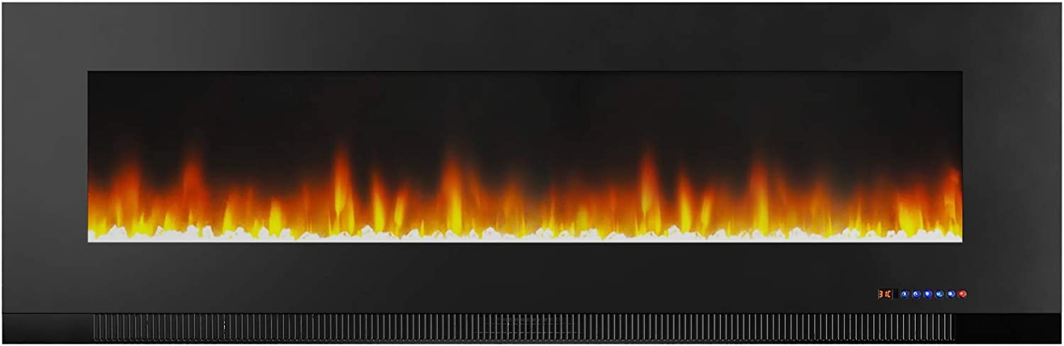 AmazonBasics Wall-Mounted Recessed Electric Fireplace - 60-Inch, Black