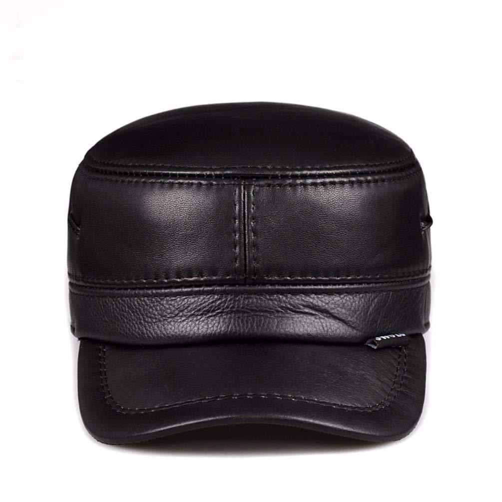 ERLINGSAN-PM Warme Mütze des Herbst- und Winterlederkappens aus Leder warme Mütze Ohrenschützende Mütze aus Leder
