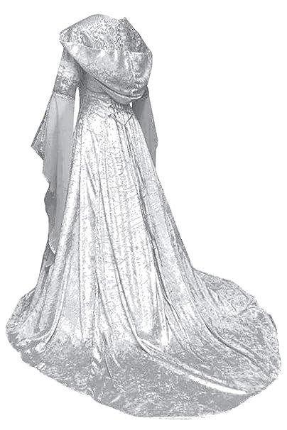 Vestido Maxi con Capucha Medieval de Navidad de Halloween para Mujeres Traje de Manga de la Llamarada de Impresion Victoriana Retro Vintage