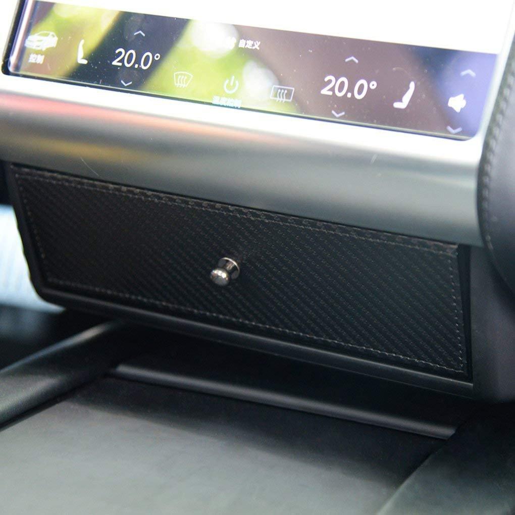TeslaWorld auto Center console organizer occhiali scatola di legno cassetto portaoggetti per Tesla Model S e modello x (nero)