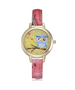 COOKI Womens Quartz Watches Fashion Metal Retro Cartoon Owl Round Dial Quartz Analog Wrist Watch with Leather Band, Lady Watches Female Watches Watches for Teen Girls (Red)