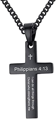 Stainless Steel Black Enamel Cross /& Dogtag with CZ Pendant 24in Necklace