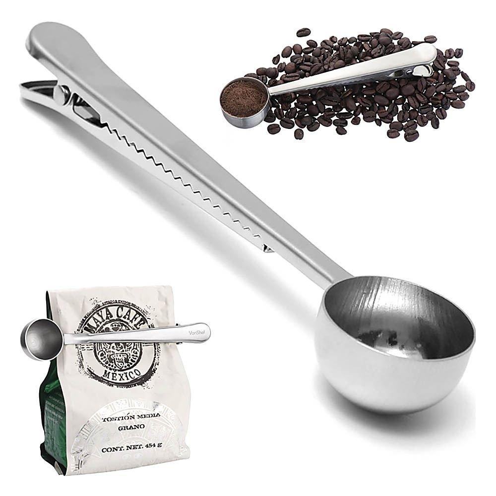 Stainless Steel Ground Coffee Scoop / Tea Scoop / Coffee Measuring Spoon with Bag Clip VK