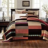 DaDa Bedding Classical Desert Sands Reversible Real Patchwork Quilted Bedspread Set - Striped Autumn Warm Tones Brown Burgundy Multi-Color Print - King - 3-Pieces