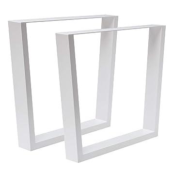 Holzwerk 1 Paar Design Tischbein Tischgestell Stahl Weiss Trapez Form