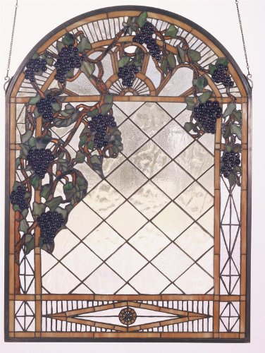 Meyda Tiffany Grape Diamond Large Trellis Window ()