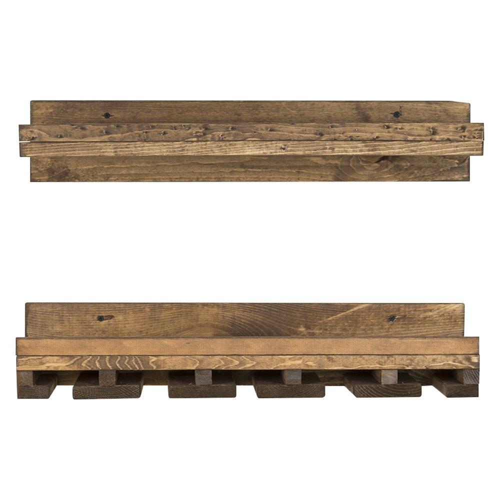 del Hutson Designs Rustic Pine Wood Floating Wine Shelf and Glass Rack Set, 6'' x 24'' x 10'', Dark Walnut