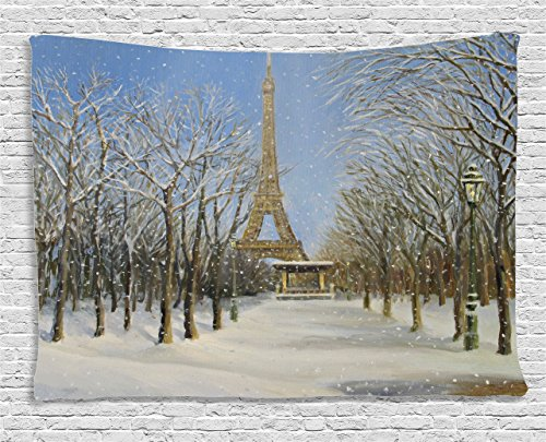 Ambesonne Country Decor Collection, Winter Scene of Historical Eiffel Tower in Paris Snowy Day City European Urban View, Bedroom Living Room Dorm Wall Hanging Tapestry, 80 X 60 Inches, White Blue Grey (Cafe Tapestry)