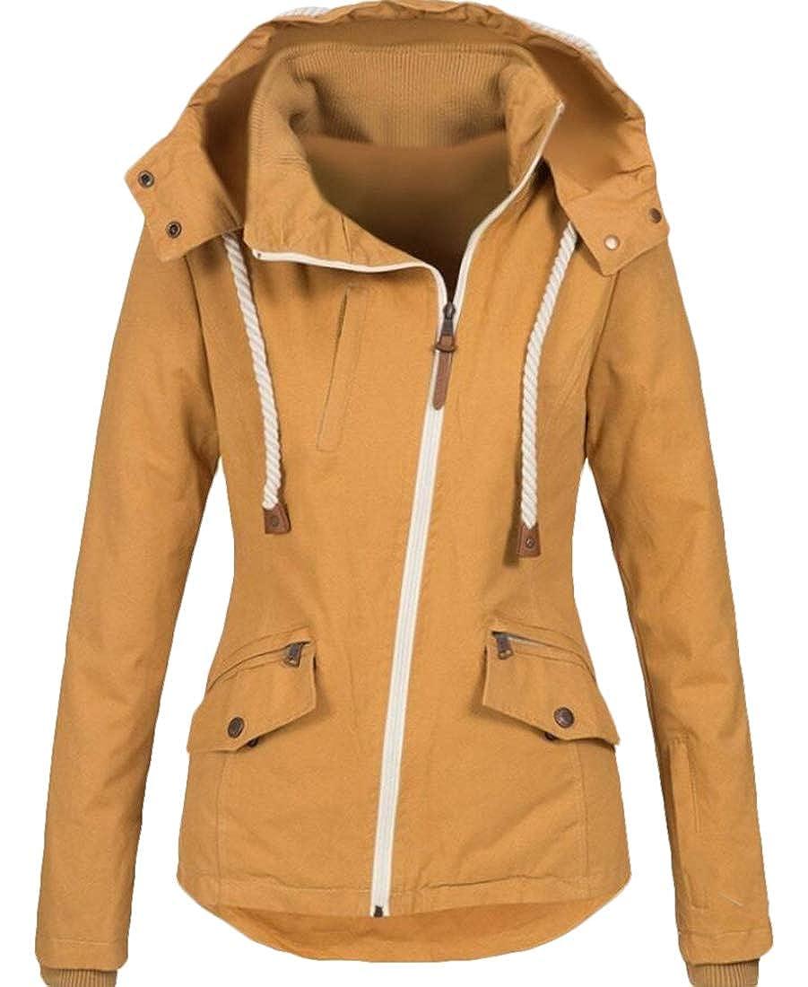 XTX Women Hooded Zipper Windproof Windbreaker Classic Drawstring Jackets