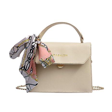 79903a72d051 Amazon.com: Women's Leather Satchel Silk Scarf Strap Handle Button ...