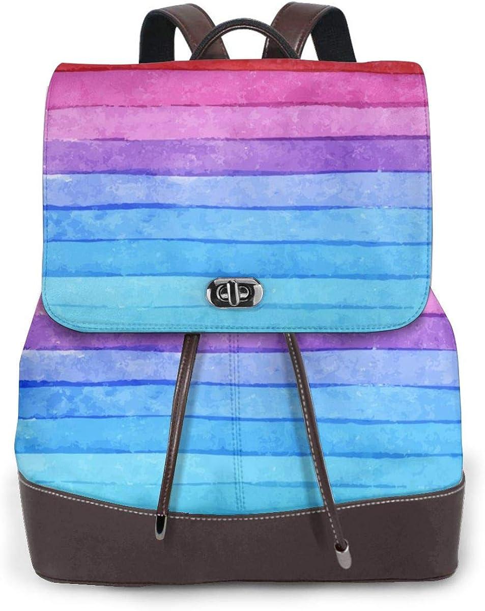Mochila de piel con diseño de tiburón Rayas de Colores Arcoíris.