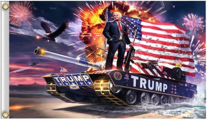 RTWAY Trump Flag, Donald Trump on Tank 2020 Keep America Great, 3x5 Feet Printed Flag with Grommets for Hanging Supporting President Trump