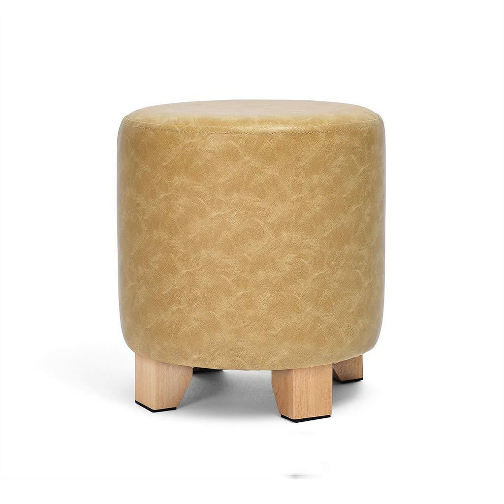C 35cm SN PU Cuir Tabouret Bois Massif Multifonction Salon Canapé Repose-Pied (peut Supporter 150kg) (Couleur   A, Taille   35cm)