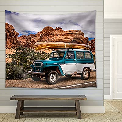 With Expert Quality, Magnificent Artisanship, Vehicle Driving Through The Grand Canyon Fabric Wall
