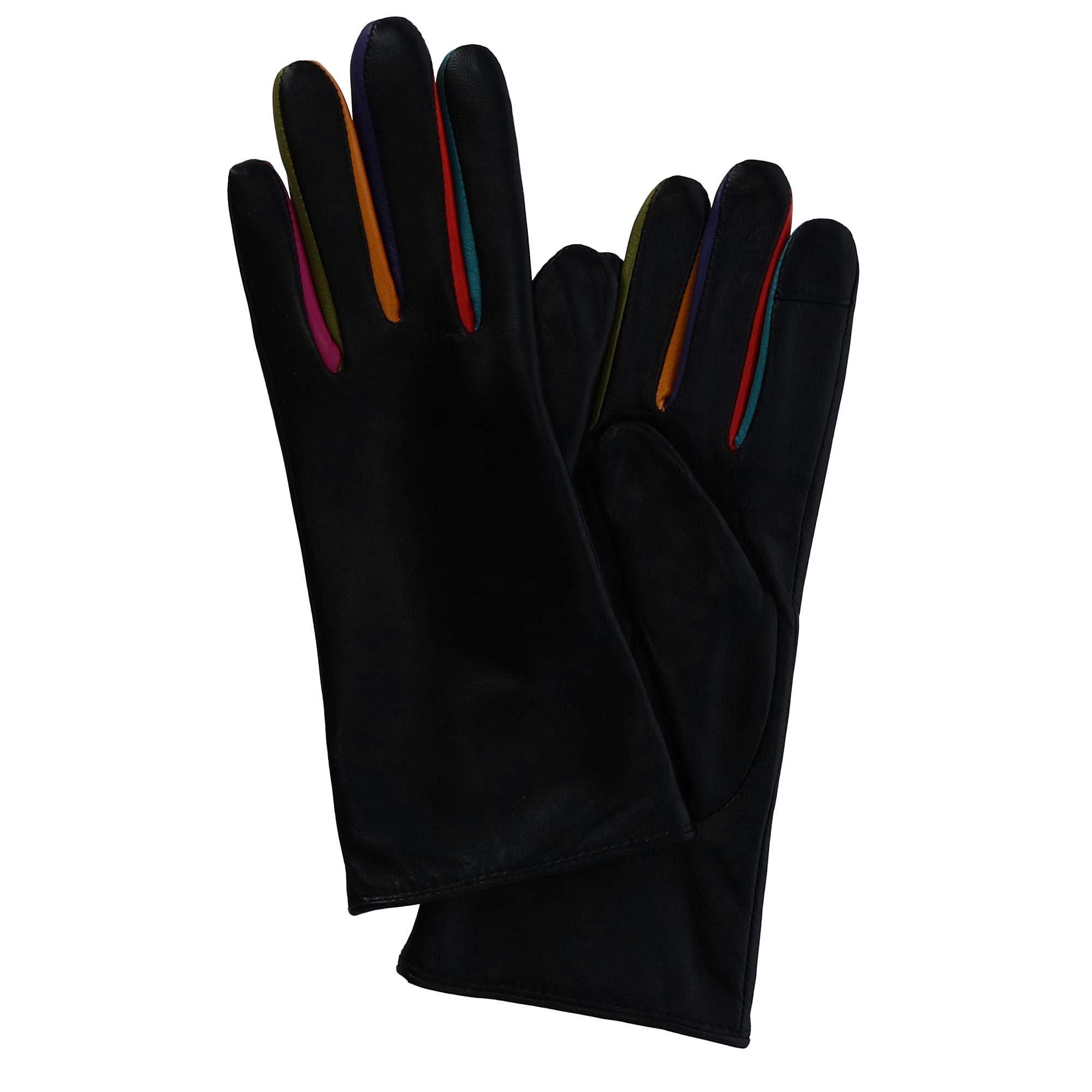 ILI Women's Tech Leather Glove with Multi Color Inlay, Medium, Black