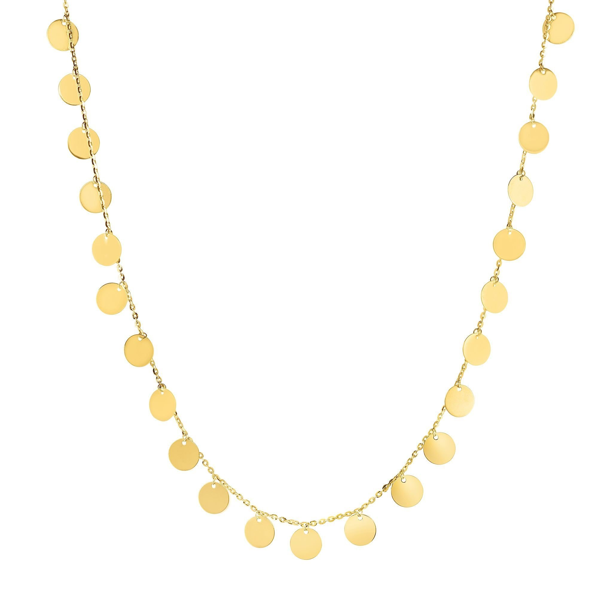 14kt Gold 16'' Yellow Finish 7mm Shiny+Diamond Cut Round Choker Necklace with Lobster Clasp