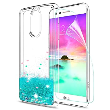 LeYi Funda LG K10 2017 Silicona Purpurina Carcasa con HD Protectores de Pantalla,Transparente Cristal Bumper Telefono Gel TPU Fundas Case Cover para ...