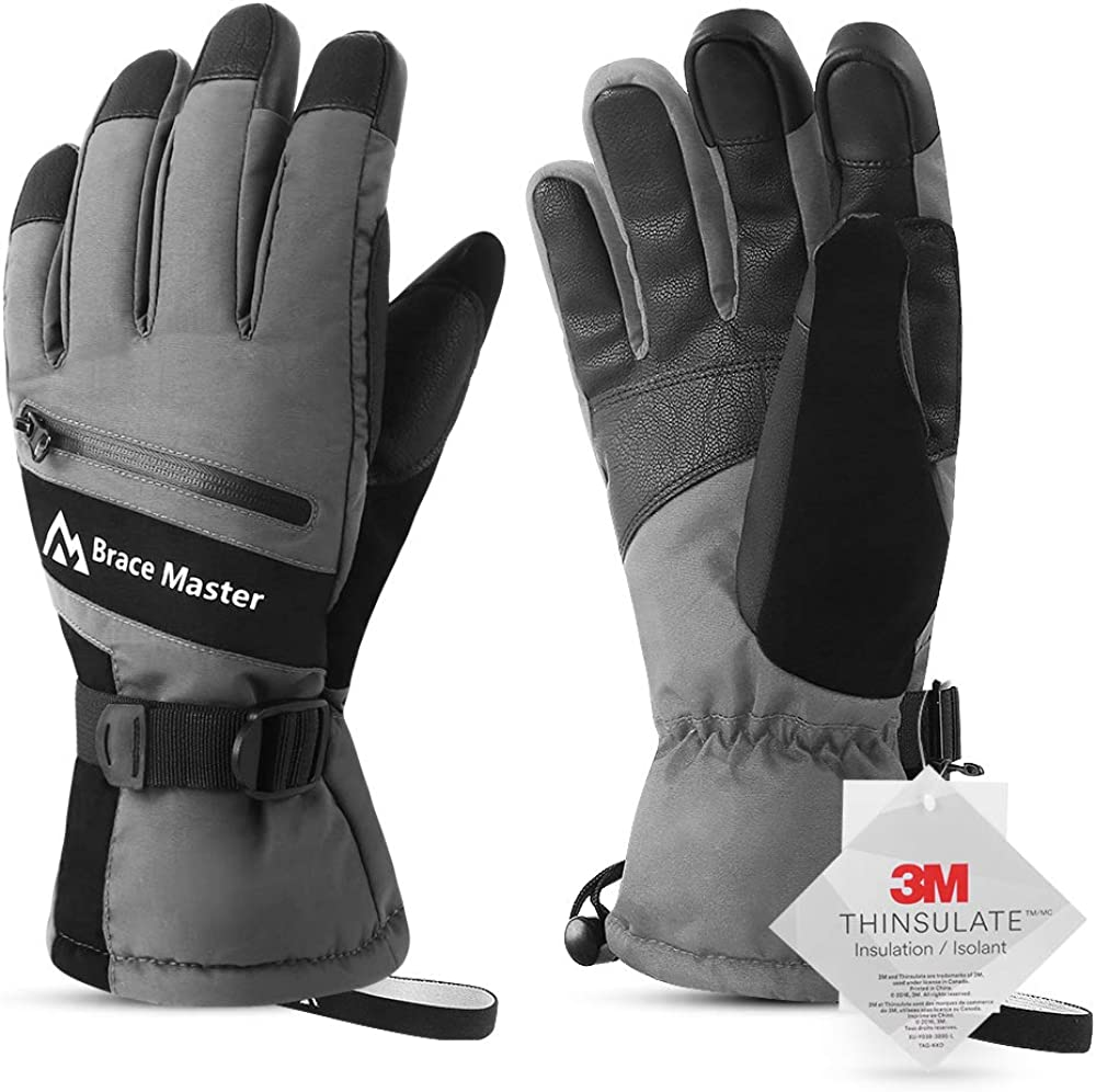 Brace Master Waterproof Ski Gloves - Touchscreen 3M Thinsulate Warm Winter Gloves Cold Weather Snow Gloves - for Men or Women