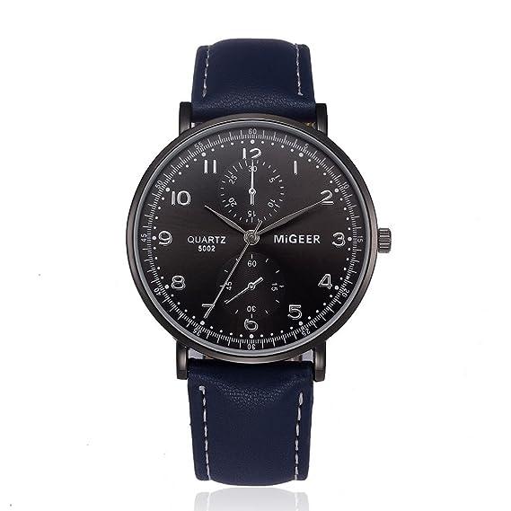 JiaMeng Amistad Pulsera Relojes de Cuarzo de aleación analógica de Cuero de diseño Retro (Azul): Amazon.es: Ropa y accesorios