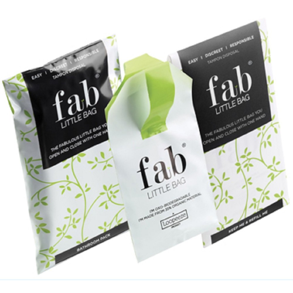 Fab Little Bag: A Starter Plus Pack of 45 Totally Disposable, Biodegradable, Feminine Hygiene Product Disposal Bags. New Larger Size Perfect for Pads and Tampons