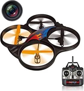 "Haktoys HAK907C 2.4GHz 4-Channel 17"" RC Video Camera Quadcopter, LED Lights, Lightweight & Crash-Resistant Foam Structure, Loop Function, Low-Battery Warning, Rechargeable, 6-Axis Gyroscope"