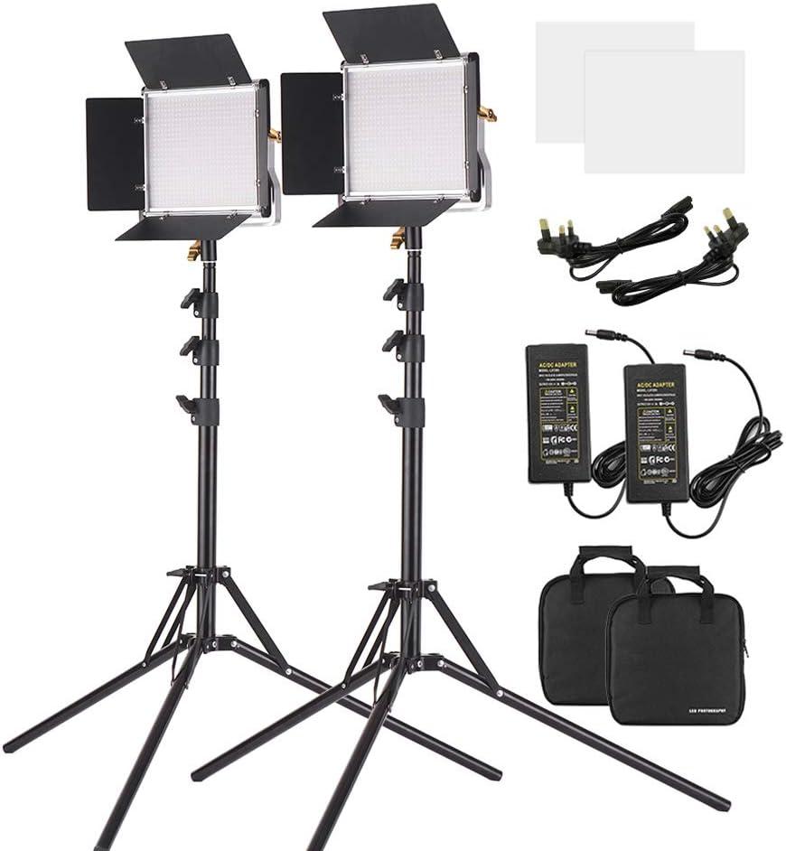 2 حزمة ضوء فيديو LED من Andoer و 78.7 بوصة مجموعة إضاءة حامل عاكسة للضوء 660 لمبة LED ثنائي اللون لوحة إضاءة 3200-5600K CRI 85+ مع دعامة U & Barndoor لالتقاط فيديو في الهواء الطلق