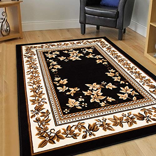 Maxstock Taj Mahal Collection Persian Traditional Design Rectangular Area Rugs -Black/Ivory/Beige/Mocha (8 Feet x 10 ()