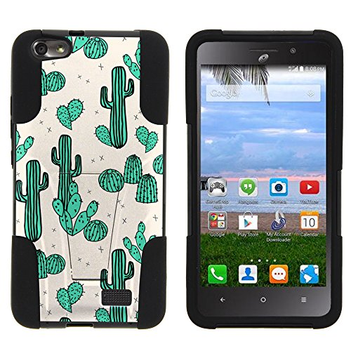 MINITURTLE Case Compatible w/Case for [ Huawei Raven LTE Case ] Stand Case [ Strike Impact ] Advanced Hybrid Stand Layers w/High Impact Silicone Green Cacti
