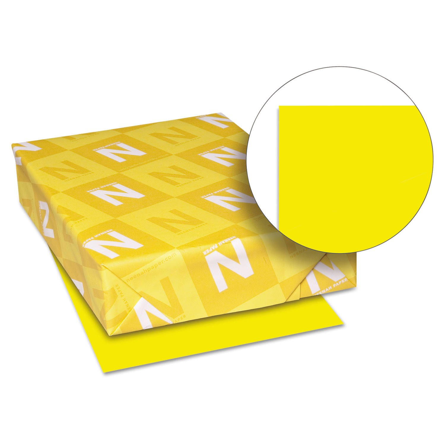 Neenah Paper 22731 Color Cardstock, 65lb, 8 1/2 x 11, Solar Yellow, 250 Sheets
