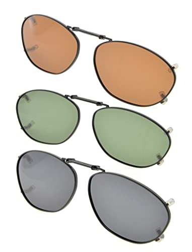 Eyekepper Grigio/Marrone/G15 Lenti 3-pack Clip-on Occhiali da Sole Polarizzati 51x33MM