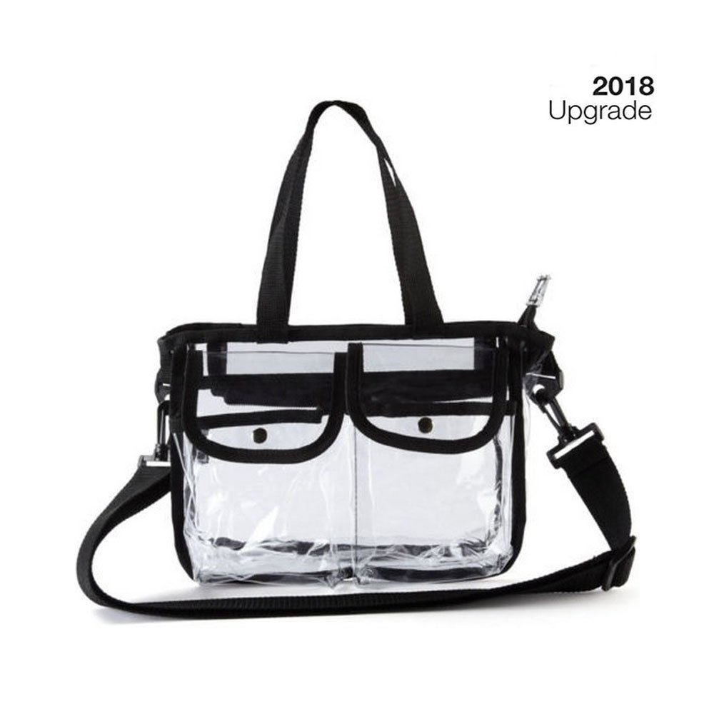 Clear Tote Bag NFL & PGA Stadium Approved - The clear Beach Bag Tote Is Perfect for Travel,Work, Sports Games,Beach Play.Cross-Body Messenger Shoulder Bag w Adjustable Strap,27x20x3 cm