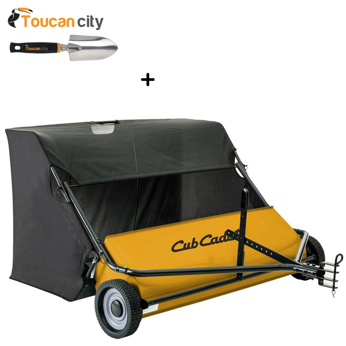 Toucan City 3 in. Softouch Hand Trowel and Cub Cadet 50 in. Tow-Behind Lawn Sweeper 19A30032100