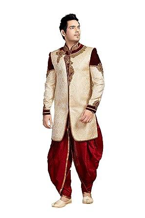 4876c671423 Amazon.com  Indian Wedding Wear Sherwani For Men Heavy Work Exclusive Party wear  Dress  Clothing