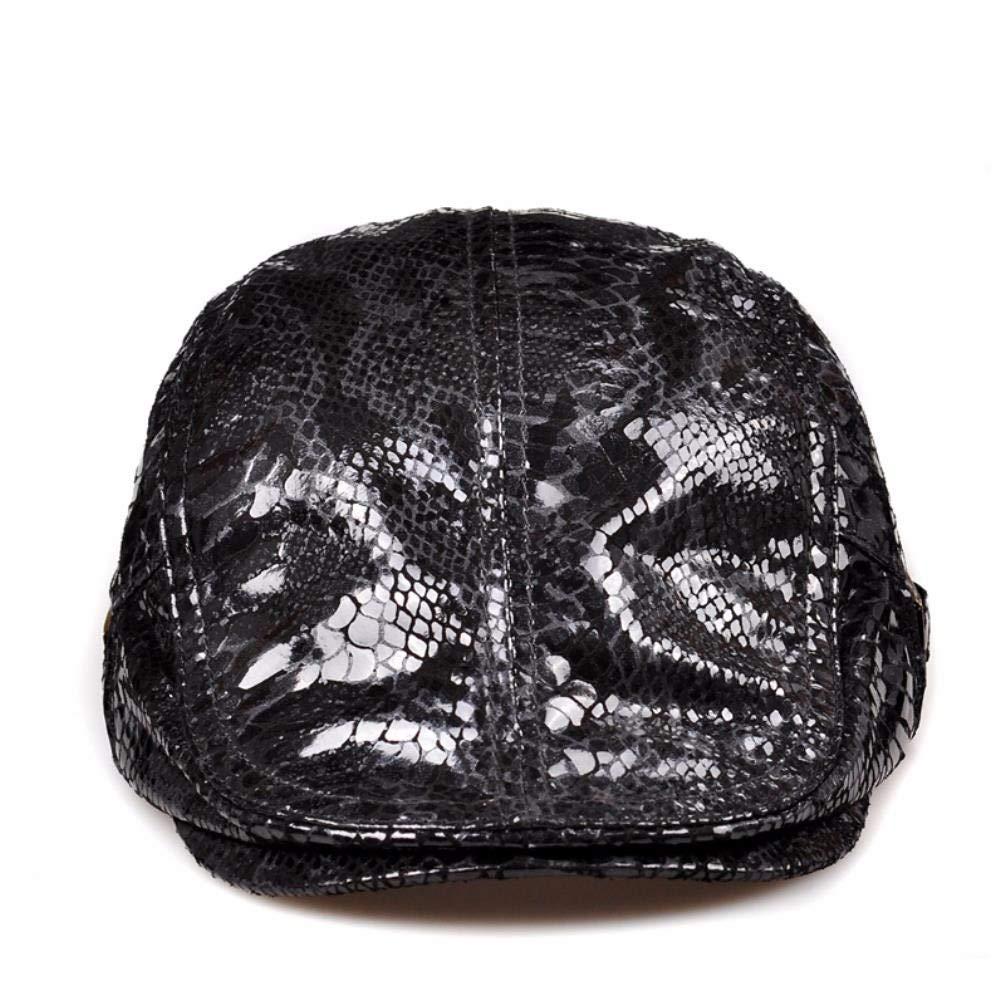 Thundertechs Men's Women's Spring and Autumn Season Leather hat, Fashion Lacquer Cap, Leisure Cap, Leather Cap, (Color : Black, Size : 22.4-23.6inch)