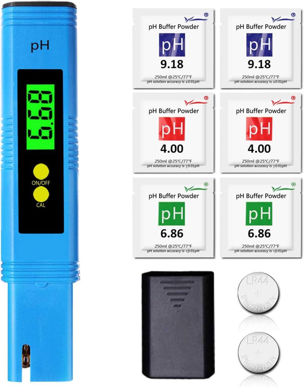 Medidor pH Agua Digital,Alta Precisión +/- 0,01, 0–14 ph ATC ...