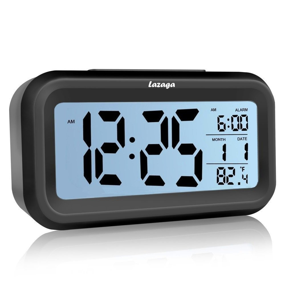 Lazaga Alarm Clock, Large LCD Display Digital Alarm Easy to Set and Watch,Low Light Sensor Technology Soft Night Light Repeating Snooze Month Date & Temperature Display (A)