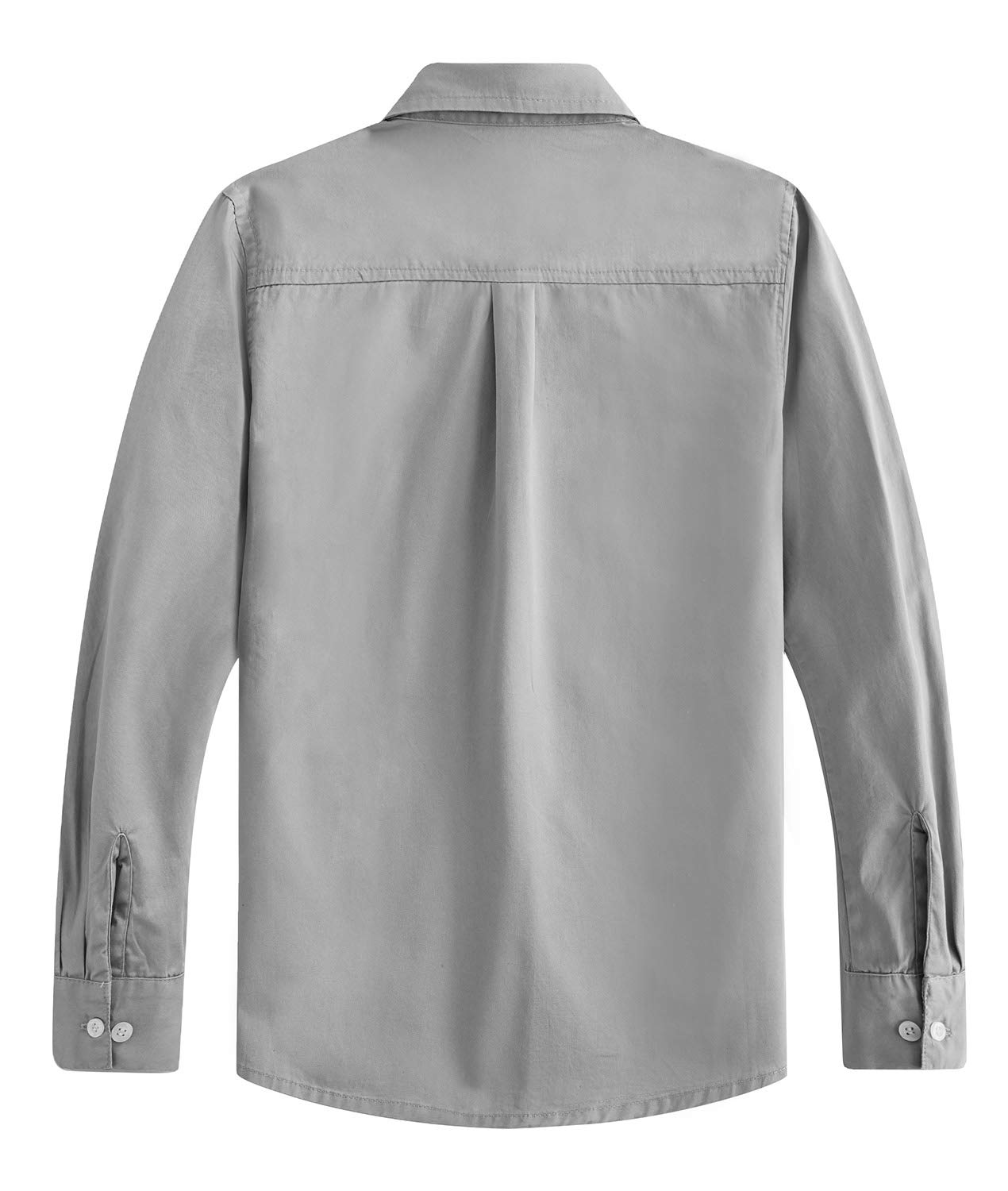 Spring&Gege Boys' Long Sleeve Solid Formal Cotton Twill Dress Shirts Silver 11-12 Years by Spring&Gege (Image #2)