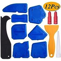 12 Pieces Sealant Tools Caulking Tool Kit Silicone Sealant Finishing Tool Grout Scraper Caulk Remover and Caulk Nozzle and Caulk Caps (Blue)