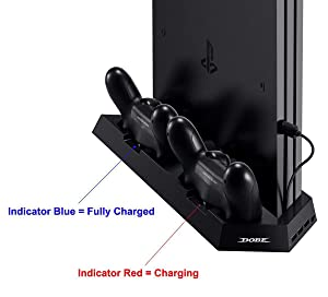 [UPDATED Vertical Stand Charger for PS4 / PS4 Pro / PS4 Slim] KINGTOP PS4 / PS4 Pro / PS4 Slim Dual Controller Charging Station with Cooling Fan for Sony Playstation 4 Dualshock 4 Pro Game Console