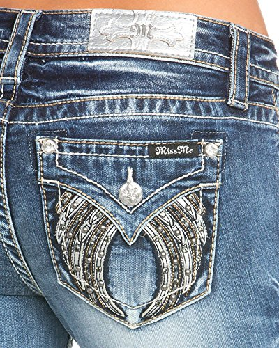 Miss Me Women's Studded Wing Slim Boot Cut Jeans Indigo 31 by Miss Me (Image #1)