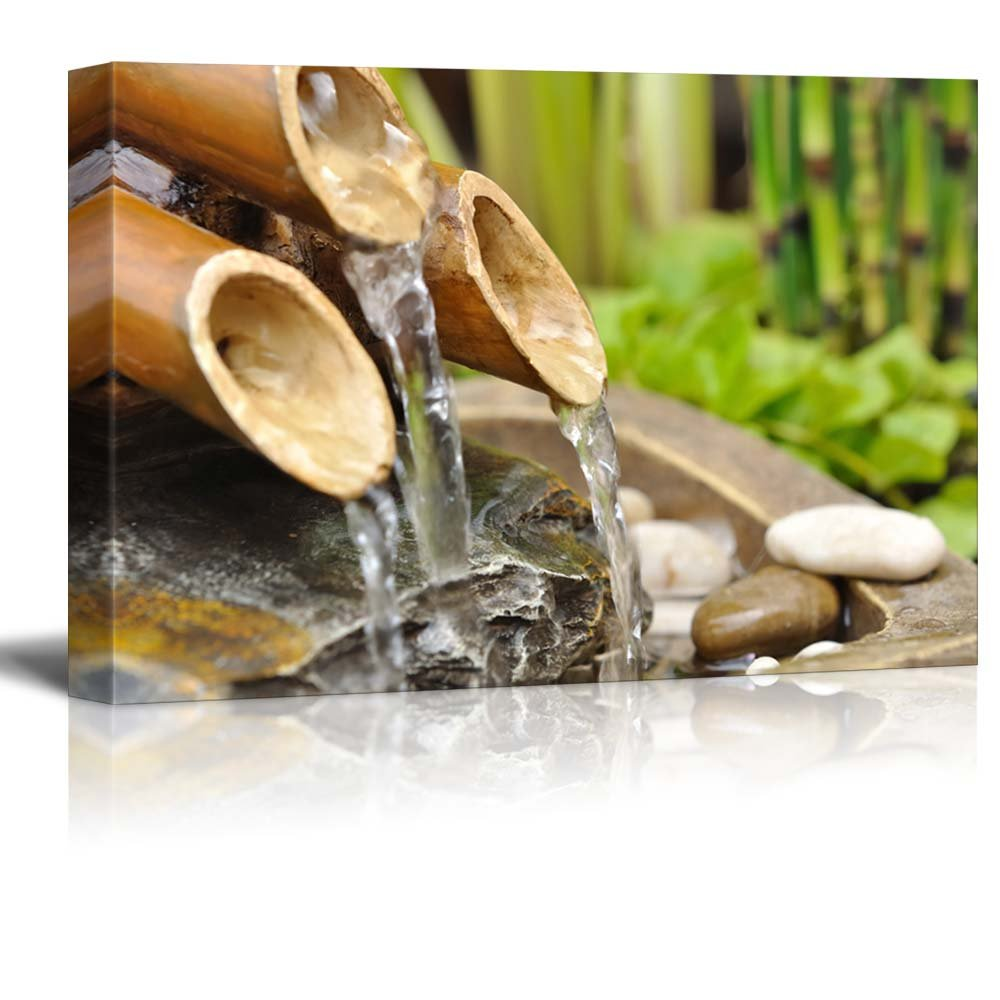 wall26 Bamboo Waterfall on a Japanese Garden - Canvas Art Home Decor - 32x48 inches by wall26
