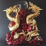 風水 五本爪の龍の置物 樹脂製 双龍 財珠 特大