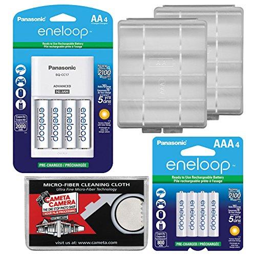 - Panasonic eneloop (4) AA 2000mAh Pre-Charged NiMH Rechargeable Batteries & Charger + (4) AAA Batteries + (2) Battery Cases + Kit