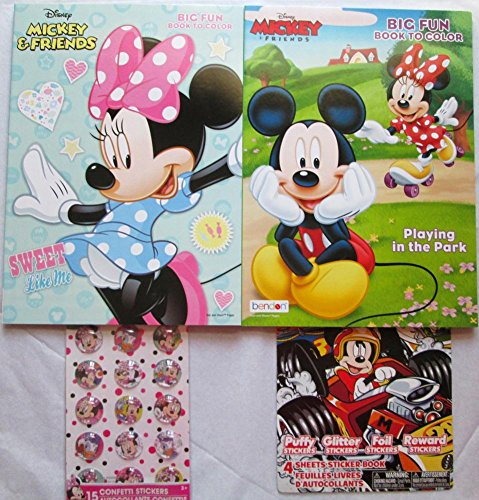 DBK Gifts 2 Coloring Books with Stickers PreSchool Elementary   Educational and Fun (Minnie (Halloween 2 Hospital Scene)