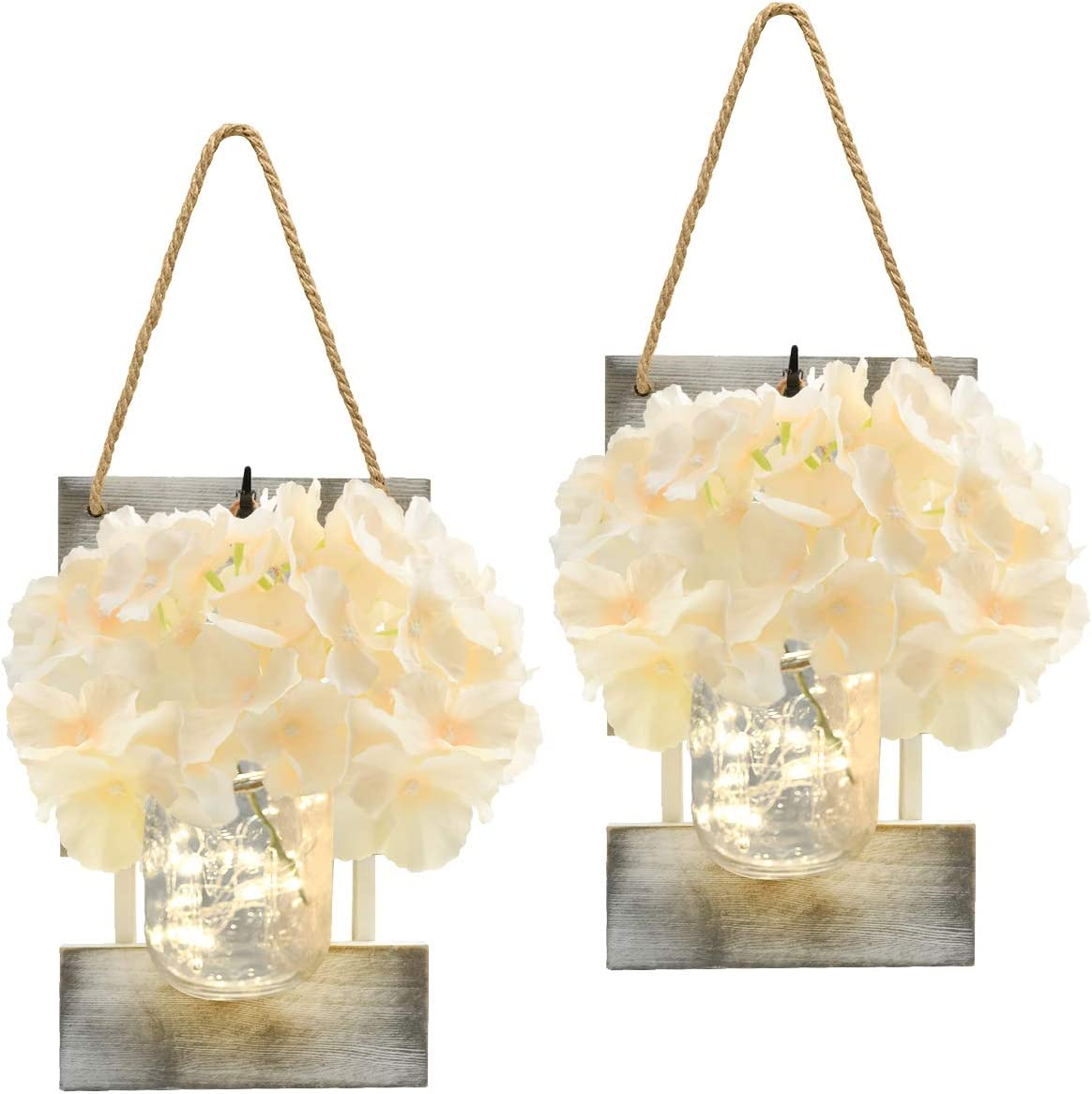 Yooda Mason Jar Sconces for Home Decor, Rustic Wall Sconces with LED Fairy Lights and Silk Hydrangea Flowers, 6-Hour Timer, Farmhouse Home Wall Decoration (Set of 2)