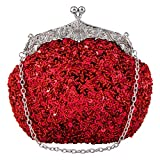 Bagood Women's Vintage Evening Bags Clutches Purses Handbag Shoulder Bag Seed Beaded Sequin Flower for Wedding Bridal Prom Party Red