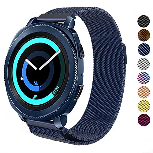 DELELE for Samsung Gear Sport / S2 Classic/Galaxy Watch 42m Band, 20mm Stainless Steel Milanese Loop Metal Replacement Strap with Magnet Lock for Gear Sport/Galaxy Watch 42mm Women Men (Blue)