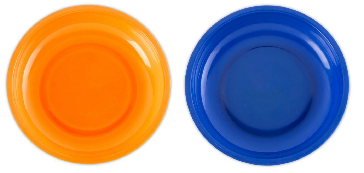 2 Pack Magnetic Plastic Tray Holders - Orange and Blue - Use In Garage, Home, Construction - For Nuts, Bolts, Washers, Iron, Nails, Screws, Sockets, Bits, Etc. - 6 Inch x 1-1/4 - By Katzco Kayco USA