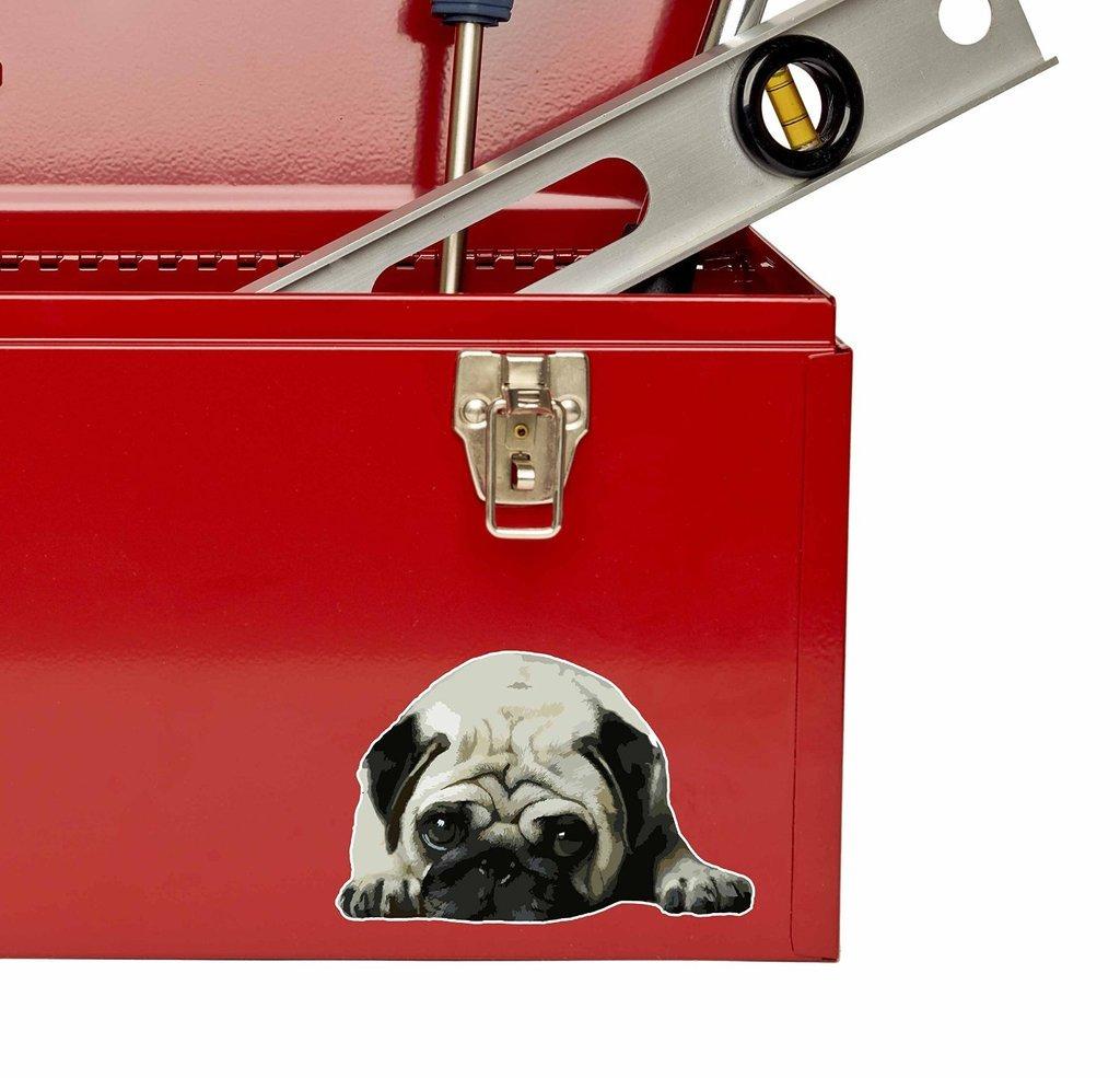 2 x 20cm//200mm Cute Pug Dog Vinyl Sticker Decal Laptop Car Travel Luggage Label Tag #9556